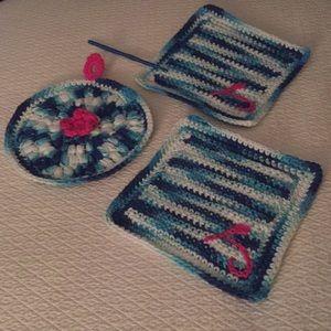 Hand Crocheted Dishcloths & Potholder.